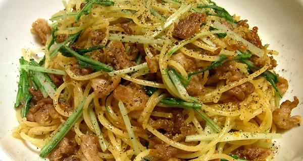 カリカリ豚コマとシャッキリ水菜のパスタ