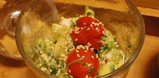 セロリと水菜とプチトマトのナムル